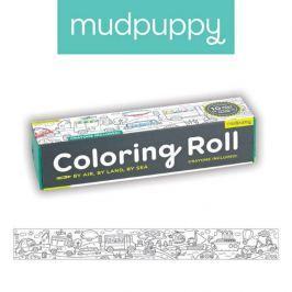Duża kolorowanka na rolce + 6 kredek Mudpuppy - środki transportu