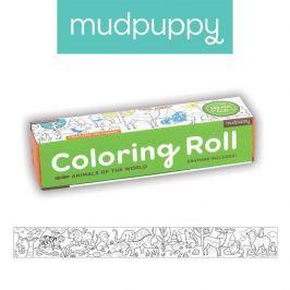 Duża kolorowanka na rolce + 6 kredek Mudpuppy - zwierzęta
