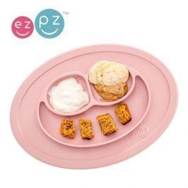 Mini Mat - silikonowy talerz z podkładką EZPZ 2w1 - pastelowy różowy