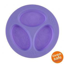 Silikonowy talerzyk trójdzielny Oogaa - Purple Divided Plate