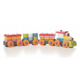 Drewniane klocki Cubika - pociąg z wagonikami