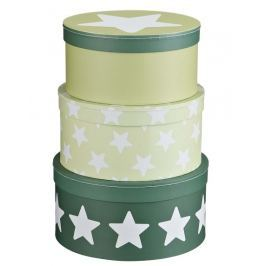 Pudełka okrągłe 3 szt. Kids Concept - zielone gwiazdki