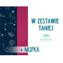 Zestaw Samiboo: śpiworek Classic + mufka - galaktyka+magenta