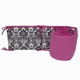 Ochraniacz do łóżeczka 60x120 - ornament - czarno - różowy