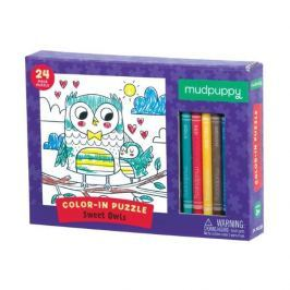 Puzzle do kolorowania z kredkami Mudpuppy - słodkie sowy