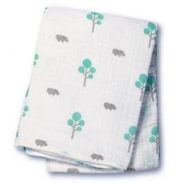 Muślinowy kocyk Lulujo - hipopotam i zielone drzewka