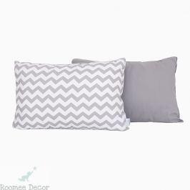 Poduszka dekoracyjna 60x40 - zygzaki - szaro-białe