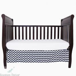 Falbana dekoracyjna do łóżeczka - zygzaki - granatowo-białe