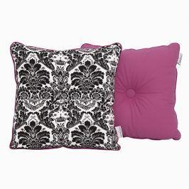 Poduszka dekoracyjna 30x30 - ornament - czarno - różowy