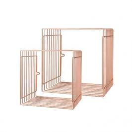 Zestaw metalowych półek (duża i mała) - różowe