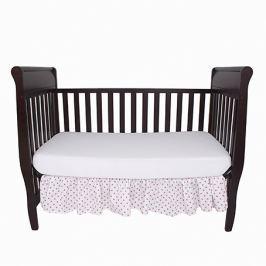 Falbana dekoracyjna do łóżeczka - gwiazdki - biało - różowe