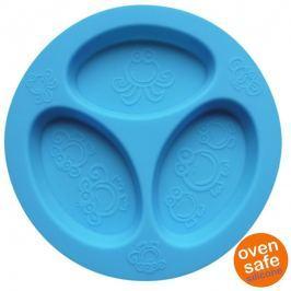 Silikonowy talerzyk trójdzielny Oogaa - Blue Divided Plate
