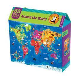 Puzzle Mudpuppy - 63 elementy - Mapa świata