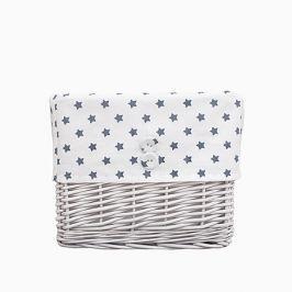 Koszyk wiklinowy mały - gwiazdki - biało-szare