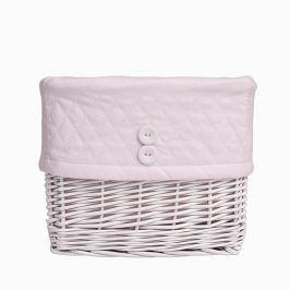 Koszyk wiklinowy duży - pikowany - różowy