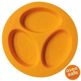 Silikonowy talerzyk trójdzielny Oogaa - Orange Divided Plate