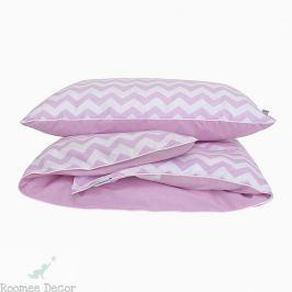 Pościel niemowlęca - zygzaki - różowo - białe