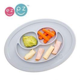 Mini Mat - silikonowy talerz EZPZ z podkładką 2w1 - pastelowy szary