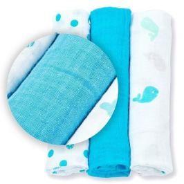 Zestaw pieluszek muślinowych Lulujo (70x70) niebieski
