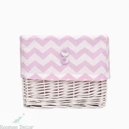 Koszyk wiklinowy mały - zygzaki - różowo-białe