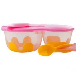 Podwójny pojemnik na jedzenie - pomarańczowo-różowy