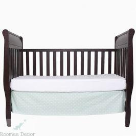 Falbana dekoracyjna do łóżeczka - gwiazdki - miętowo - białe
