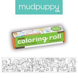 Mała kolorowanka na rolce + 4 kredki Mudpuppy - zwierzęta