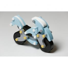 Drewniane klocki Cubika - motocykl na magnesy - chopper niebieski
