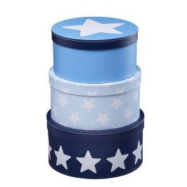 Pudełka okrągłe 3 szt. Kids Concept - niebieskie gwiazdki