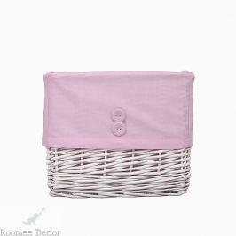 Koszyk wiklinowy mały - gładki - różowy