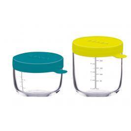 Zestaw słoiczków do przechowywania żywności 150 ml i 250 ml Beaba - blue + neon