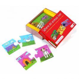 Puzzle Duo The Purple Cow - połącz w pary - gdzie mieszkają zwierzątka?
