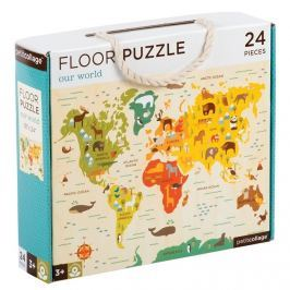 Puzzle podłogowe Petit Collage - mapa świata  (3+)